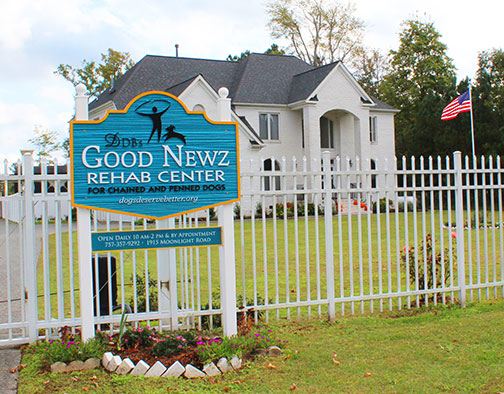 The sign and front of the Good Newz Rehab Center